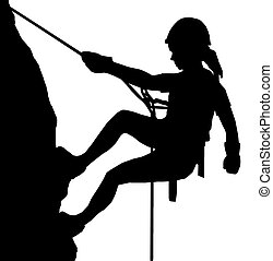 Abseiling Lady - Isolated Image of a Female Abseiler...