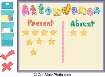 absent, assistance, planche, présent