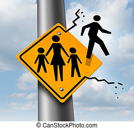 Absent dad or deadbeat father concept as a traffic sign with a mother and two children and a daddy icon breaking out abandoning and leaving the family to avoid child support after a relationship divorce or separation.
