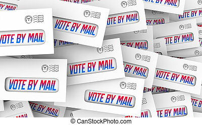 absentee, 投票, イラスト, 投票, 3d, 選挙, メール, 投票