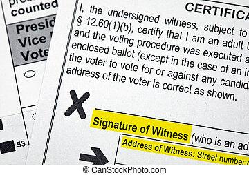 absentee, 投票, 選挙, 署名, 目撃者, 大統領である