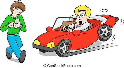 vector illustration of a absentminded smartphone user who causes car accident