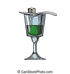 Absinthe alcohol color sketch - Absinthe alcohol narcotic ...