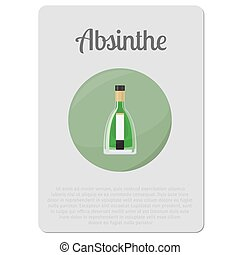 Absinthe alcohol sticker with bottle - Absinthe alcohol. ...