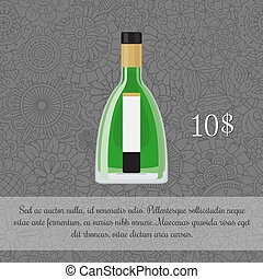 Absinthe alcoholic beverage card template with price and ...
