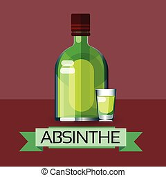 Absinthe Bottle Alcohol Drink Icon Flat Illustration