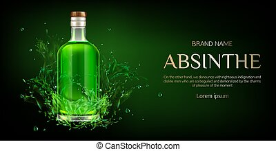 Absinthe bottle mock up banner, blank glass flask with green...