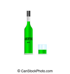absinthe bottle with glass illustration on white