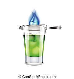 Absinthe isolated on white vector - Absinthe isolated on ...