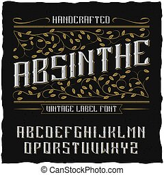 Absinthe label font and sample label design with decoration...
