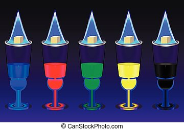 Absinthe - The five glasses with multicolored absinthe shots...
