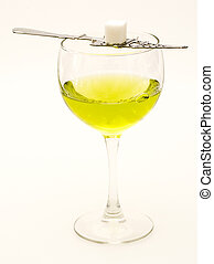 Absinthe with Sugar Cube and Spoon.
