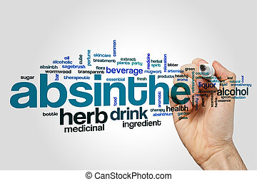 Absinthe word cloud concept on grey background