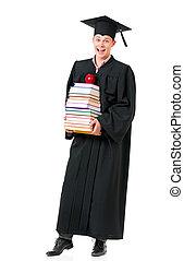 absolwent, książki, student, płaszcz