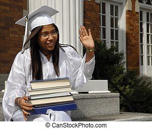 absolwent, machać