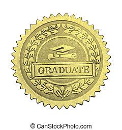 absolwent, złoty lakują