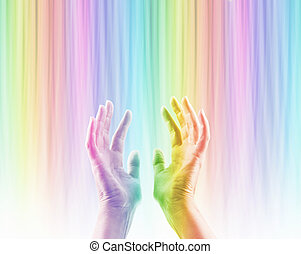 Absorbing Color Light Therapy - Female hands reaching up ...