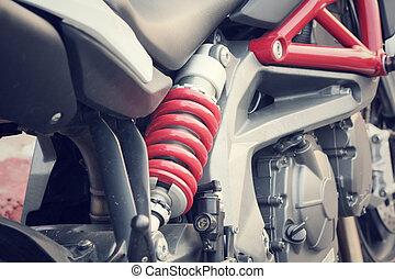 absorvente, choque, motocicleta