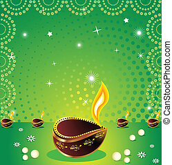 absract green deepawli background - abstract green deepawali...