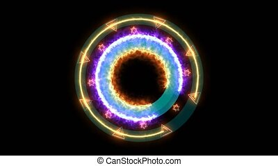 Absract magic power energy star circle glow light rotation ...