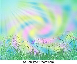 Absract Pastel Flower Garden