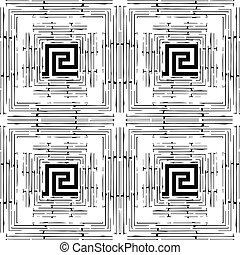 abst, グランジ, pattern., seamless, ギリシャ語, ornaments., しまのある, 幾何学的
