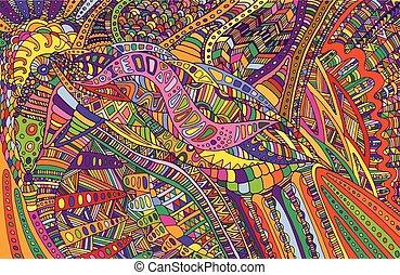 abst, arcobaleno, colorito, scarabocchiare, pattern., surreale, colori, psichedelico