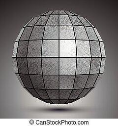 abst, grunge, stworzony, kula, kwadraty, galwanizowany, futurystyczny, 3d
