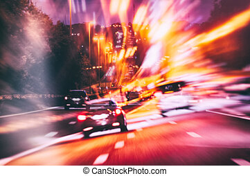 Abstact background with road in night city