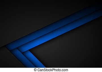 Abstact blue line vector background. Triangle overlap layers on black background with free space for your design