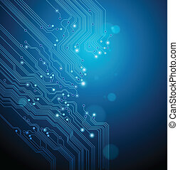 abstact blue technical background - circuit board vector...