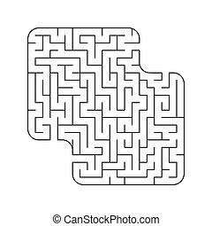 abstact, vecteur, conundrum., puzzle, labyrinth., labyrinthe, jeu, children., illustration, kids.