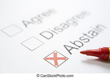 'Abstain' chosen - Between three checklists, 'Abstain' was ...
