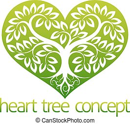 An abstract illustration of a tree growing into the shape of a heart symbol icon concept design
