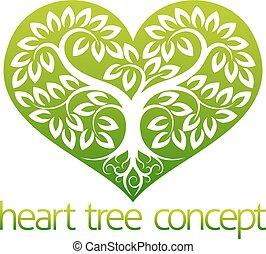 abstarct, hjärta, träd