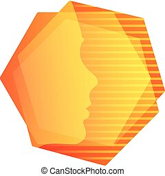 Abstarct orange geometric shape, human face in hexagons with stripes background, unusual vector logo.