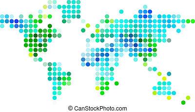 abstarct, weltkarte, grün blau, punkte