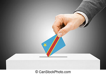 abstimmung, begriff, -, mann, einsetzen, fahne, in, wahlurne, -, demokratisch, republik kongos