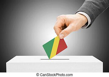 abstimmung, begriff, -, mann, einsetzen, fahne, in, wahlurne, -, republik kongos