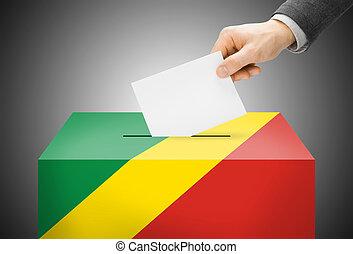 abstimmung, begriff, -, wahlurne, gemalt, in, nationales kennzeichen, farben, -, demokratisch, republik kongos