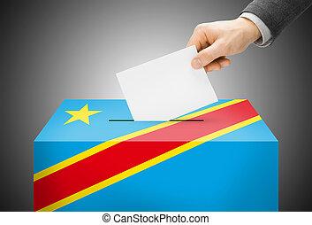 abstimmung, begriff, -, wahlurne, gemalt, in, nationales kennzeichen, farben, -, republik kongos