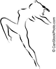 abstração, de, a, corpo feminino