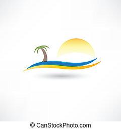 abstração, praia, relaxante, ícone