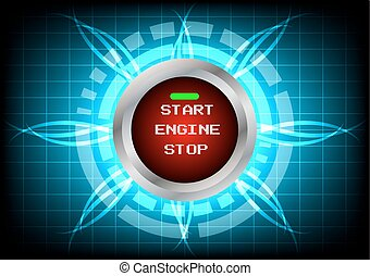Abstrack  technology engine start button and light effect on blue background