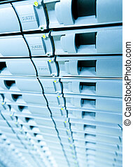 abstracrt, 青い背景, の, サーバー, ディスク, storage.