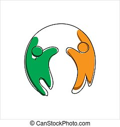 abstract 2 two happy people logo template vector design for community charity unity sign or symbol