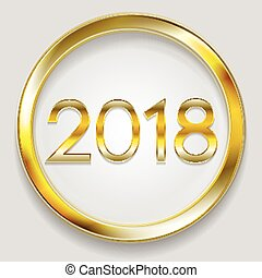 Abstract 2018 New Year golden circle button