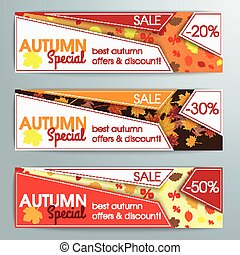 Abstract 3 Banners Template Autumn Special