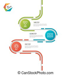 Abstract 3 steps road timeline infographic template.