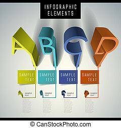 abstract 3d alphabet infographics